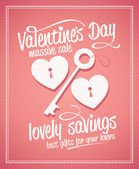 Valentine day massive sale typographic design. — Vector de stock