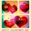Valentine card with series of photo booth couple hearts. — Stock Vector