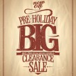 Stock Vector: Pre-holiday big clearance sale.
