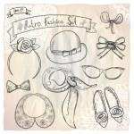 Hand drawn graphic retro fashion collection. — Stock Vector