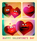 Valentine card with series of photo booth couple hearts. — ストックベクタ
