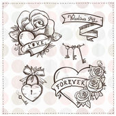 Old school graphic hearts with roses and ribbons. — Stock Vector