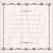 Handdrawn doodle frame with bows on a paper. — Stock Vector