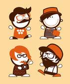 Set hipster grappige volkeren. — Stockvector