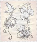 Gráfico dibujado a mano flores de la boda situado sobre un papel. — Vector de stock