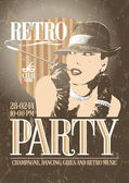 Retro party poster with old-fashioned smoking woman. — Stockvector
