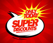 Super discounts design pop-art style. — Stock Vector