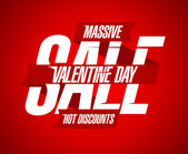 Valentine day discounts design with ribbon. — Cтоковый вектор