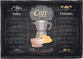 Vintage chalk coffee and croissants menu. — Stock Vector