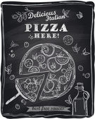 Chalk pizza with the cut off slice. — Vetorial Stock