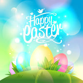 Happy Easter design with eggs and bokeh lights. — Stock Vector