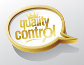 Quality control gold speech bubble — Stock Vector