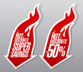 Hot discounts fiery symbols. — Stock Vector