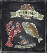 Chalkboard fish bar. — Stock Vector
