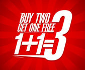 Buy two get one free sale design. — Stockvector