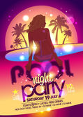 Night pool party poster. — Stock Vector