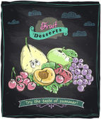 Chalk healthy food fruit menu. — Vetorial Stock