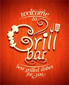 Grill bar retro poster. — Stok Vektör