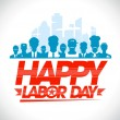 Happy labor day design with workers. — Stock Vector #50716323