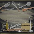 Постер, плакат: Design with kitchen utensils on a chalkboard