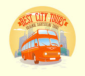 Best city tours design with double-decker bus background. — Stock Vector
