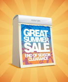 Great summer sale tear-off calendar design. — Cтоковый вектор
