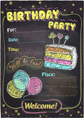 Birthday party chalkboard design. — Stock Vector