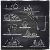 Chalk banquet food symbols. — Vettoriale Stock