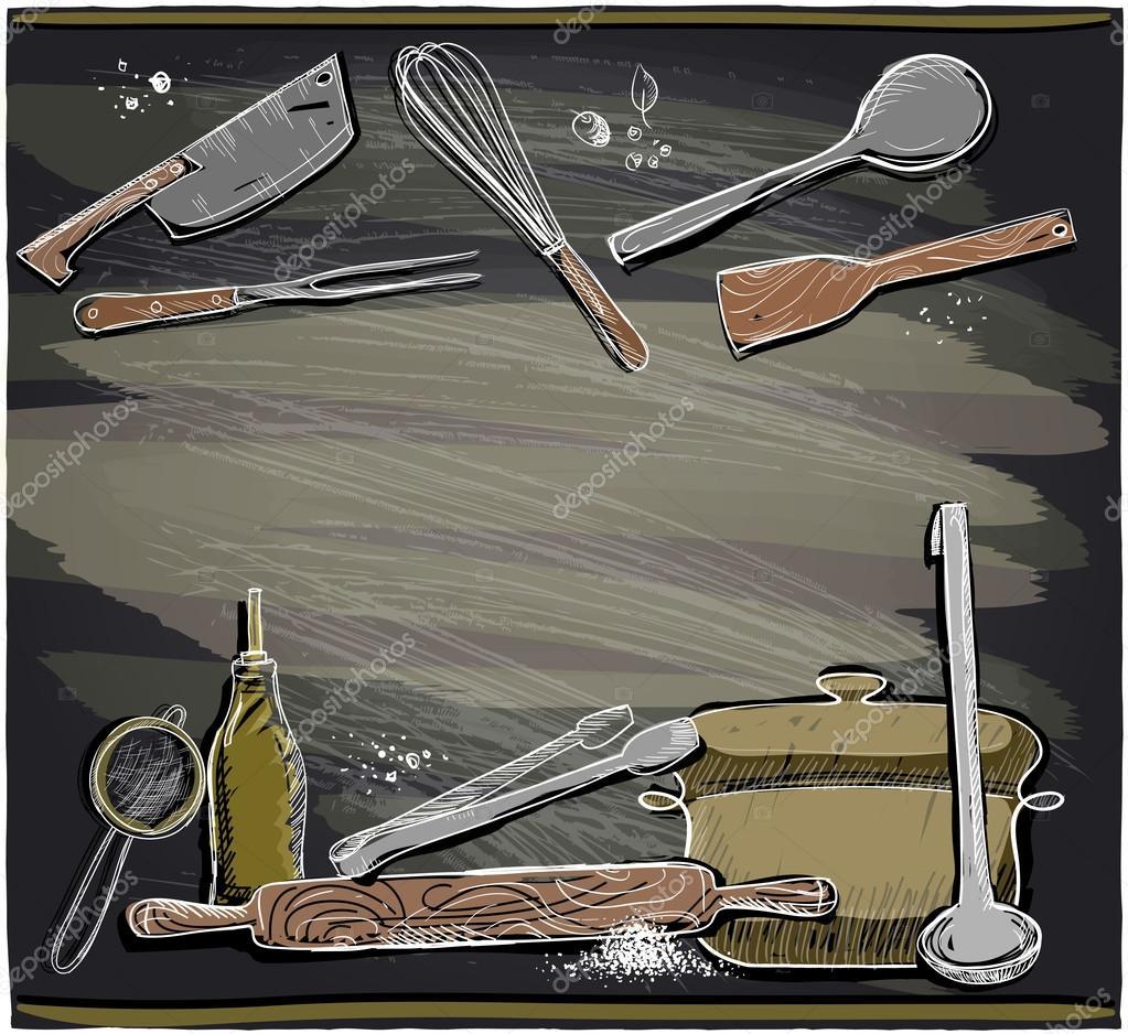 Design avec des ustensiles de cuisine sur un tableau noir for Ustensiles de cuisine design