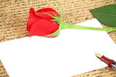 Red rose with a blank note — Stock Photo