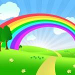 Summer landscape with rainbow — Stock Photo