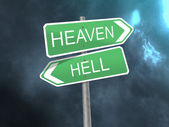 Signpost to heaven and hell — Stock Photo