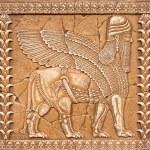 Stone Carving Lamassu or Shedu in Mesopotamia mitology — Stock Photo