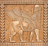 Stone Carving Lamassu or Shedu in Mesopotamia mitology — Foto Stock