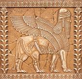 Pietra intaglio lamassu o shedu in mesopotamia mitology — Foto Stock