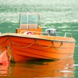 Stock Photo: Orange rescue boat on the water