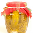 Stock Photo: Jar of pickles on white