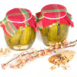 Stock Photo: Jars of pickles isolated on white
