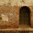 Old window on red brick wall  — Stock Photo