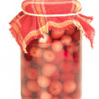 Stock Photo: Jar of cherry on winter, isolated background