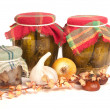 Stock Photo: Jars of preserves isolated on white