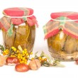 Stock Photo: Jars in pantry on white