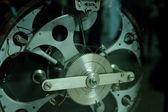 řadící mechanismus closeup, adjustaci, regály — Stock fotografie