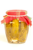 Jar of pickles on white — Stock Photo