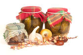 Jars of preserves isolated on white — Stock Photo