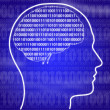 Royalty-Free Stock Photo: Binary brain in head on blue background