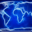 Digital World Map with on blue  — Stock Photo