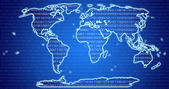 Digital World Map with binary code blue background — Stock Photo