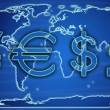 Stock Photo: World currency exchange rates on world map