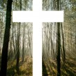 Stock Photo: Cross with light shafts. Faith symbol.